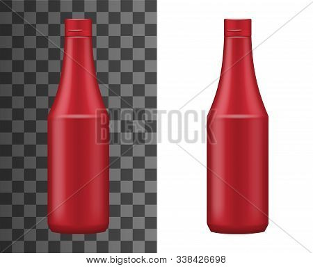 Ketchup Bottle Realistic Packaging Template Isolated On White And Transparent. Vector Red Plastic Co