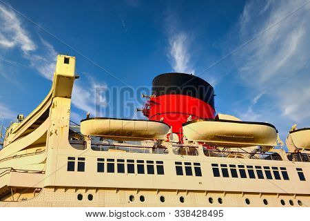 Smokestack and LIfeboats on Classic Old Cruise Ship poster