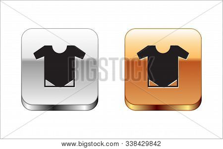 Black Baby Onesie Icon Isolated On White Background. Baby Clothes Symbol. Kid Wear Sign. Silver-gold