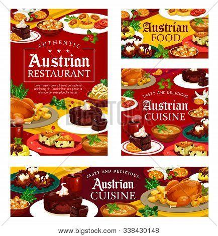 Authentic Austrian Cuisine Food, Restaurant Or Cafe Menu. Vector Cuisine Of Austria, National Main C