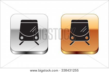 Black Tram And Railway Icon Isolated On White Background. Public Transportation Symbol. Silver-gold