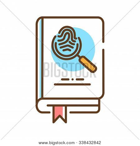 Detective Book Color Line Icon. A Sub-genre Of Crime And Mystery Fiction. An Investigator Investigat