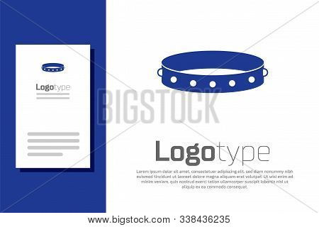 Blue Leather Fetish Collar With Metal Spikes On Surface Icon Isolated On White Background. Fetish Ac