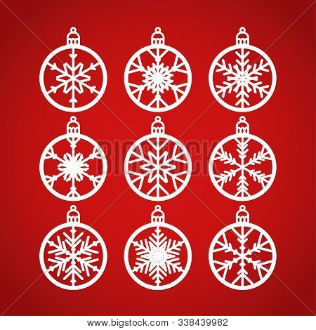 Christmas Balls Set With A Snowflake Cut Out Of Paper. Templates For Laser Or Plotter Cutting Or Pri