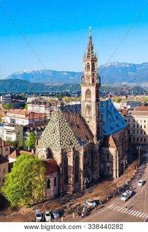 Bolzano Cathedral Or Duomo Di Bolzano Aerial Panoramic View, Located In Bolzano City In South Tyrol,