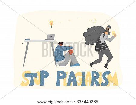 Plagiarism Emblem, Infringement Of Copyright. Young Upset Man And Pirate Stealing His Ideas Metaphor