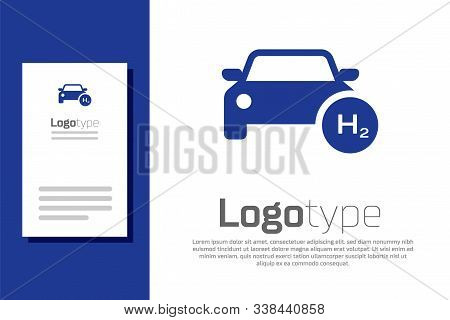 Blue Hydrogen Car Icon Isolated On White Background. H2 Station Sign. Hydrogen Fuel Cell Car Eco Env