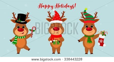 Merry Christmas And A Happy New Year 2020. Three Cute Reindeer In Different New Year S Costumes And