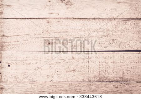 Old Wood Plank White Texture For Decoration Background. Wooden Wall All Antique Cracking Furniture P
