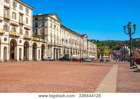 Piazza Vittorio Veneto Is A Main Square In Turin City, Piedmont Region Of Northern Italy