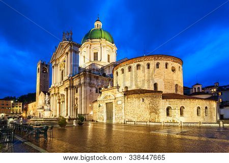 New Cathedral Or Duomo Nuovo And Old Cathedral Or Duomo Vecchio At The Piazza Paolo Square In Bresci