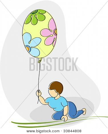 Kid Playing with balloon Comic Style illustration