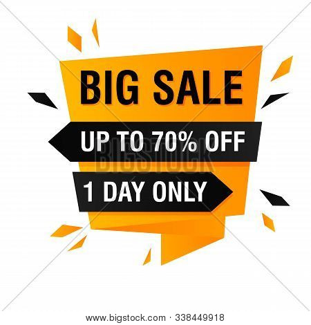 Big Sale Offer Banner Design With Splinters Explosion. Abstract Graphic Element With Text. Origami S