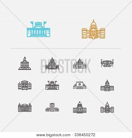 Us Capitols Icons Set. Landmark And Us Capitols Icons With Indiana State Capitol, Dome, Rhode Island