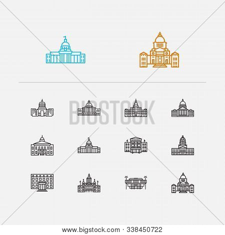 Building Icons Set. Alabama State Capitol And Building Icons With North Carolina State Capitol, Hous