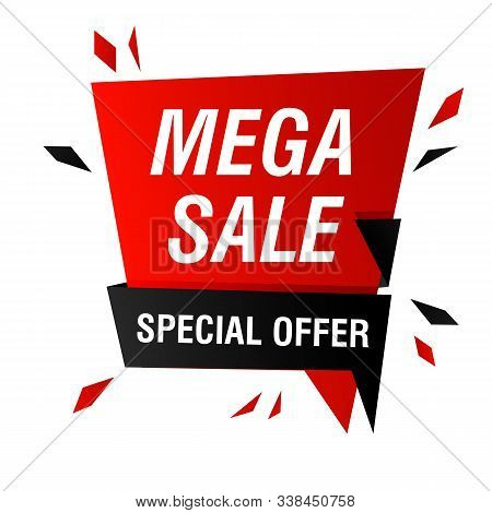 Mega Sale Special Offer Banner Design With Splinters Burst. Abstract Graphic Element With Text. Spee