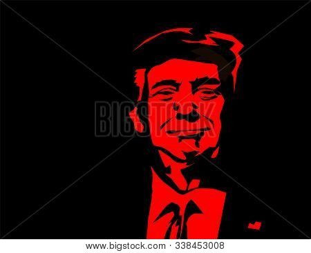 Washington D.c. Usa - Dec, 2019: Vector Illustration Of American President, Donald Trump. Us Preside