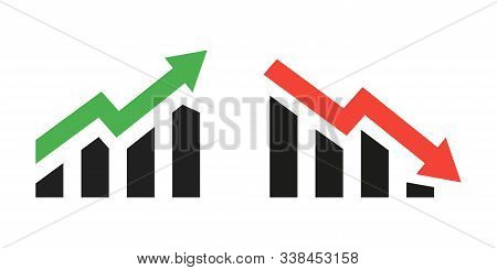 Profit Growing Green And Red Arrow Icons. Isolated Vector Icon. Progress Bar. Growing Graph Icons Gr