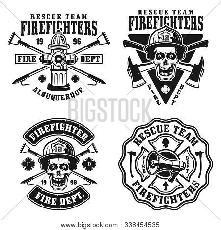 Fire Department Set Of Four Vector Emblems, Badges, Labels Or Logos In Vintage Monochrome Style Isol