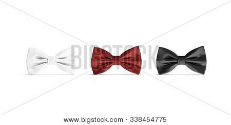 Blank Black, White And Red Bow Tie Mockup Set, Isolated, 3d Rendering. Empty Gent Accessory For Bach