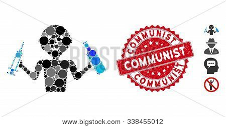 Mosaic Addict Man Icon And Corroded Stamp Watermark With Communist Phrase. Mosaic Vector Is Formed W