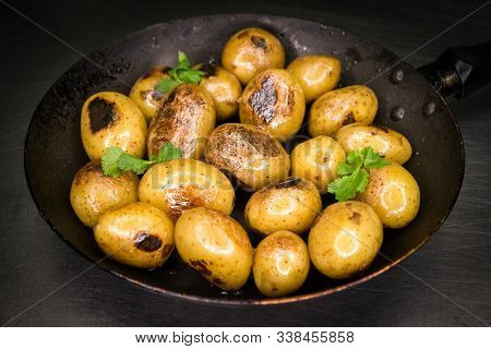 Side Dish - Cooked Potatoes On Frying Pan