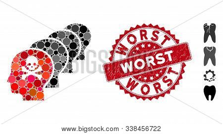 Collage Caries Icon And Grunge Stamp Watermark With Worst Phrase. Mosaic Vector Is Composed With Car