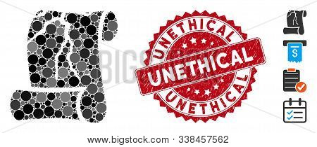 Mosaic Corrupted Law Document Icon And Corroded Stamp Watermark With Unethical Caption. Mosaic Vecto