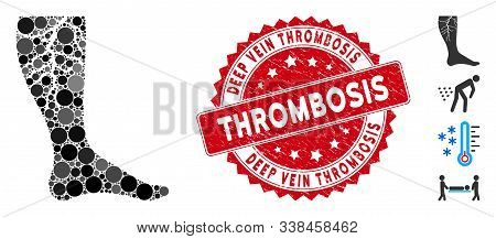 Mosaic Deep Vein Thrombosis Icon And Rubber Stamp Seal With Deep Vein Thrombosis Caption. Mosaic Vec