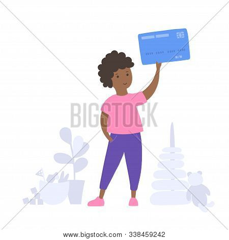 Vector Isolated Illustration Of Smiling Boy Holding Debit Or Credit Card. Finance Education Symbol.