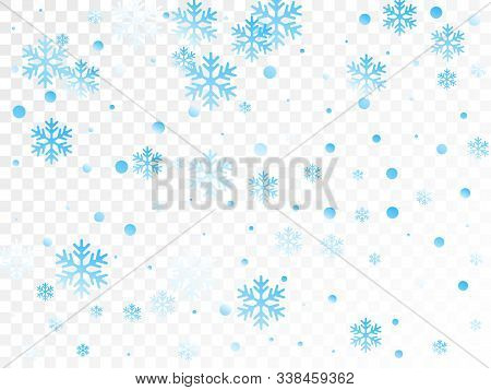 Crystal Snowflake And Circle Shapes Vector Graphics. Macro Winter Snow Confetti Scatter Flyer Backgr
