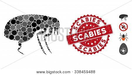 Collage Flea Icon And Grunge Stamp Seal With Scabies Text. Mosaic Vector Is Designed With Flea Icon