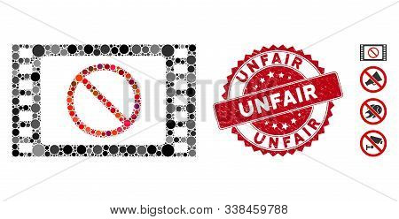 Mosaic Forbidden Movie Icon And Distressed Stamp Seal With Unfair Caption. Mosaic Vector Is Designed