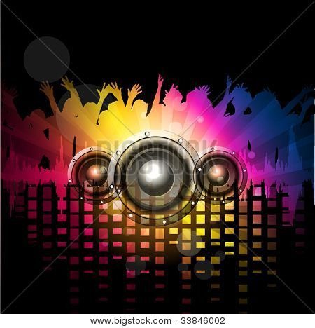 Party night background with dancing people silthoette and speakers, can be use as flyer, banner or poster for discotheque, party and other events. EPS 10. Vector illustration. poster