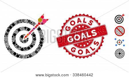 Collage Goal Icon And Grunge Stamp Seal With Goals Phrase. Mosaic Vector Is Formed From Goal Icon An