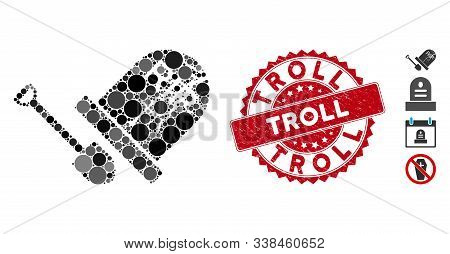 Mosaic Grave Exhumation Icon And Rubber Stamp Seal With Troll Phrase. Mosaic Vector Is Formed With G