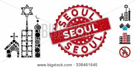 Mosaic Jerusalem City Icon And Grunge Stamp Seal With Seoul Caption. Mosaic Vector Is Designed With