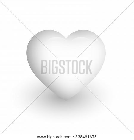 Clear White Heart With Glossy Effect. A Symbol Of Love And St Valentines Day. 3d Vector Illustration