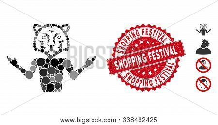 Mosaic Masquerade Icon And Corroded Stamp Seal With Shopping Festival Phrase. Mosaic Vector Is Creat