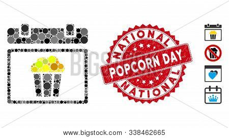 Collage National Popcorn Day Icon And Corroded Stamp Seal With National Popcorn Day Text. Mosaic Vec