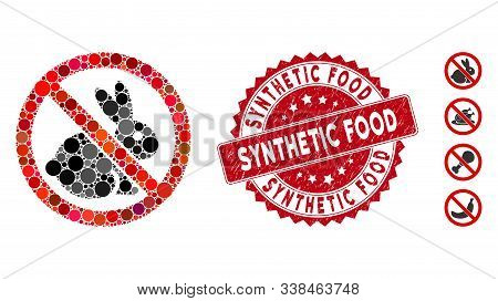 Mosaic No Rabbits Icon And Corroded Stamp Seal With Synthetic Food Text. Mosaic Vector Is Created Wi