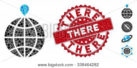 Mosaic North Pole Icon And Distressed Stamp Seal With There Caption. Mosaic Vector Is Designed With