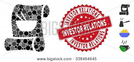 Mosaic Original Asian Recipe Icon And Corroded Stamp Watermark With Investor Relations Phrase. Mosai
