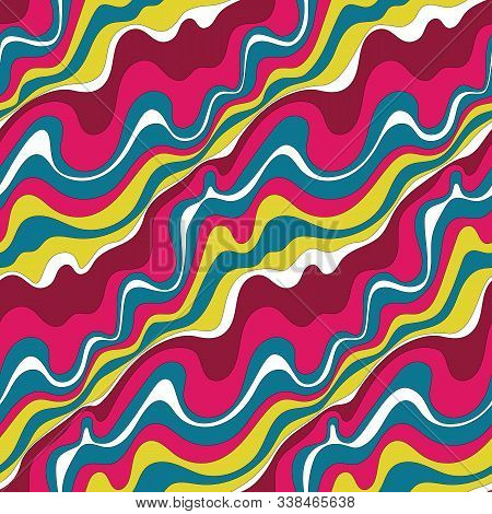 Psychedelic Wavy Background. Seamless Pattern 60s Style