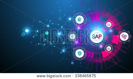 Sap Business Process Automation Software. Erp Enterprise Resources Planning System Concept Banner Te