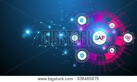 Sap Business Process Automation Software. Erp Enterprise Resources Planning System Concept Banner Te