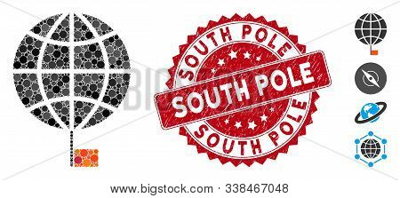 Mosaic South Pole Icon And Rubber Stamp Seal With South Pole Phrase. Mosaic Vector Is Designed With