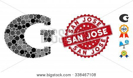 Collage Standard Icon And Rubber Stamp Seal With San Jose Phrase. Mosaic Vector Is Composed With Sta