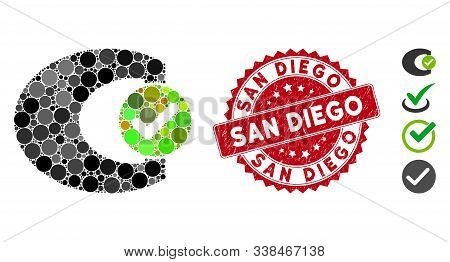 Mosaic Standard Check Icon And Distressed Stamp Seal With San Diego Text. Mosaic Vector Is Created W