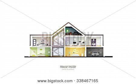 House In Cut. Three-storey Cottage Inside With Rooms, Garage And Modern Interior With Furniture. Mod